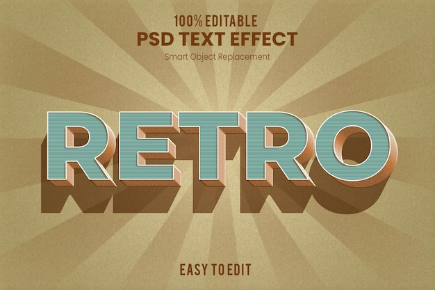Effetto di testo estruso 3d vintage retrò