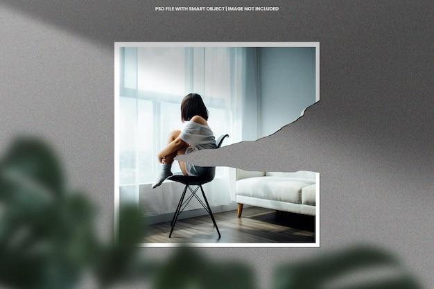 Modello di modello polaroid con cornice per foto strappata psd premium