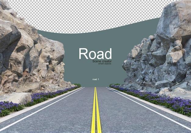 Una strada che taglia una grande linea di massi