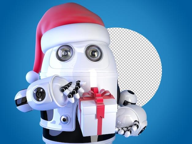 Robot babbo natale con scatola regalo di natale. concetto di natale