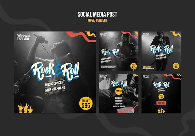 Post sui social di un concerto di musica rock