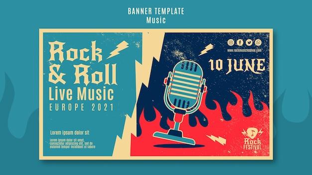 Modello di banner festival di musica rock