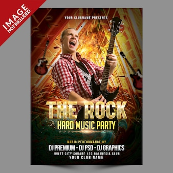 The rock music party event poster