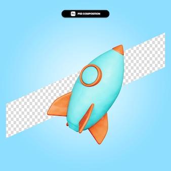 Illustrazione di rendering 3d di razzo isolato