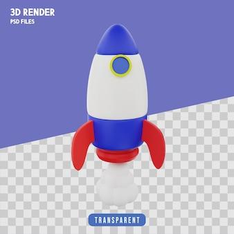 Rendering 3d di lancio di razzi premium isolato