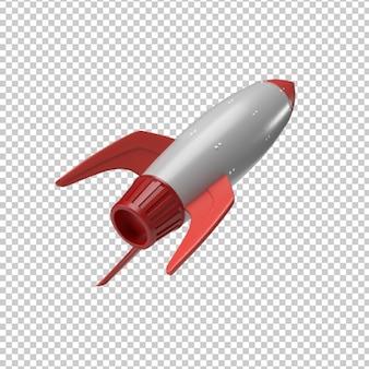 Rendering 3d di lancio di un razzo