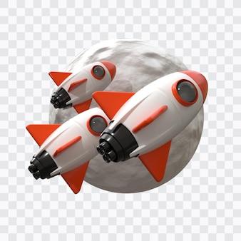 Lancio di un razzo con la luna in rendering 3d isolato