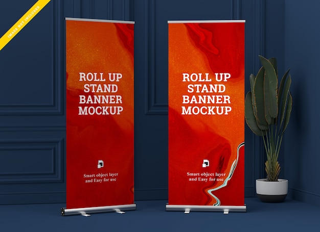 Roll up banner stand mockup. modello psd.