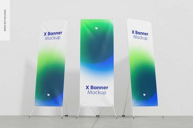 Mockup roll-up o x-banner, vista dal basso
