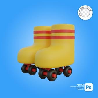 Pattini a rotelle in stile cartone animato oggetto 3d dall'aspetto frontale