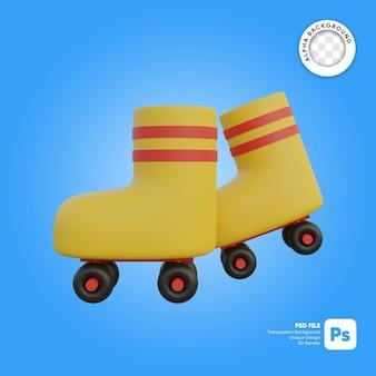Pattini a rotelle in stile cartone animato vista laterale oggetto 3d