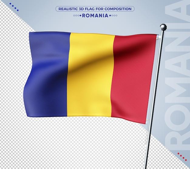 Bandiera romania 3d con texture realistica
