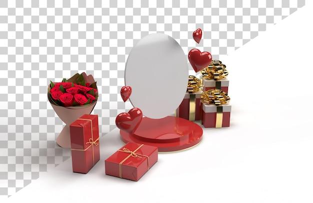 Celebrazione romantica scena scena 3d per san valentino con regalo Psd Premium