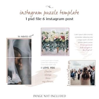 Modello di collage di instagram matrimonio romantico