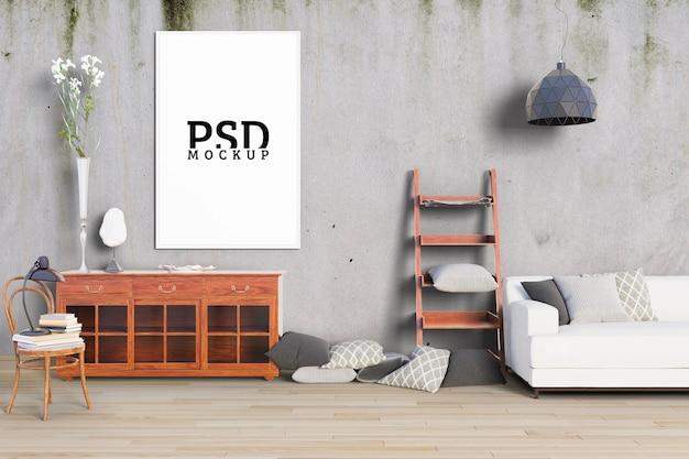 La stanza ha pareti e cornici antiche Psd Premium