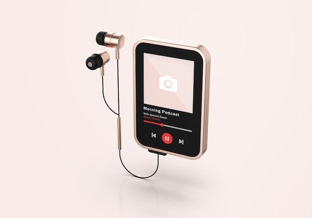 Mockup di lettore multimediale 3d in oro rosa