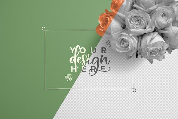 Mockup di sfondo bouquet di rose
