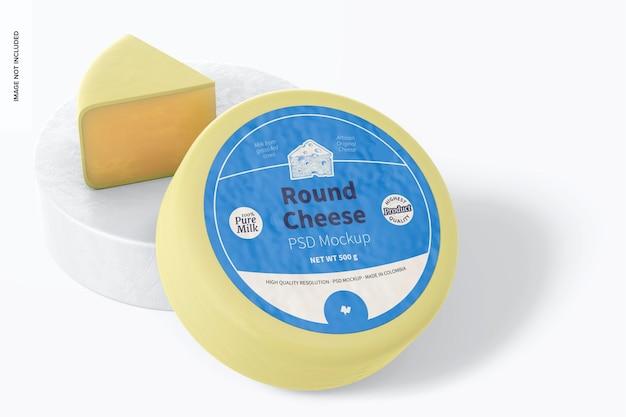 Mockup di formaggio rotondo, appoggiato
