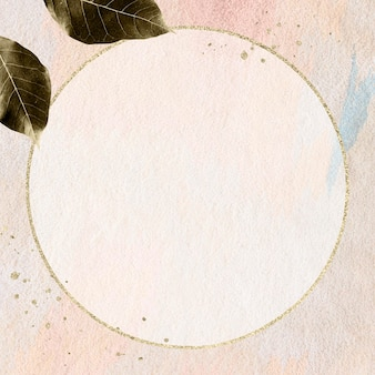 Cornice rotonda in oro su un design mockup a parete con motivi rosa pastello