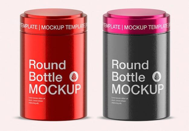 Round metallic latta box mockup design isolato