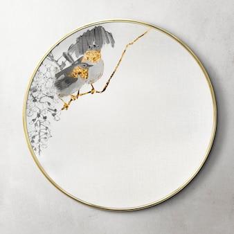 Specchio rotondo decorato con un mockup di opere d'arte