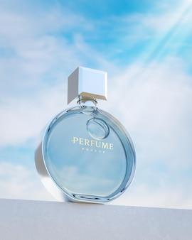 Modello rotondo di logo della bottiglia di profumo sul fondo blu del cielo nuvoloso per marcare a caldo il rendering 3d