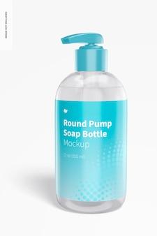 Mockup di bottiglia di sapone a pompa rotonda Psd Premium