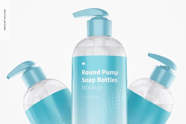Set di mockup di bottiglie di sapone rotonde a pompa