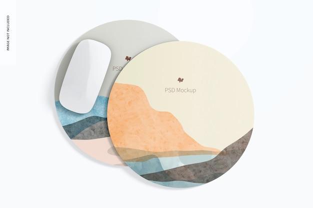 Mockup di tappetini per mouse rotondi in silicone