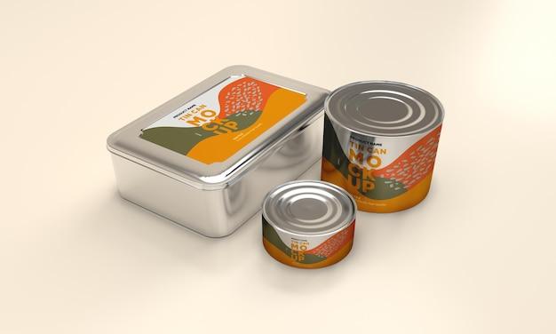 Mockup di imballaggio in latta per alimenti in metallo rotondo e quadrato