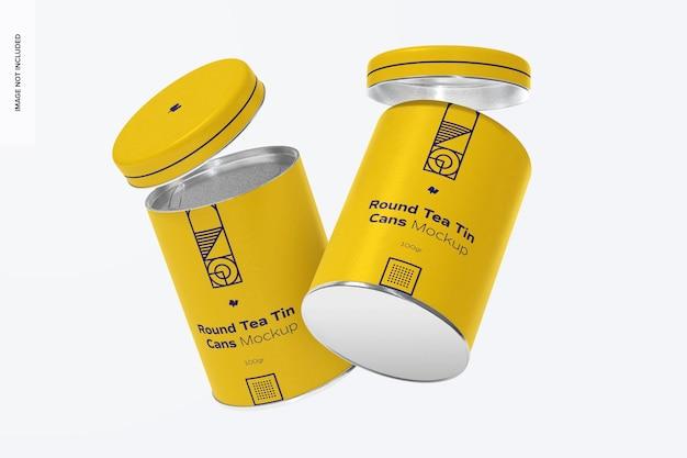 Mockup di lattine di tè rotondo, galleggiante