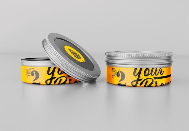 Round tin mockup design isolato