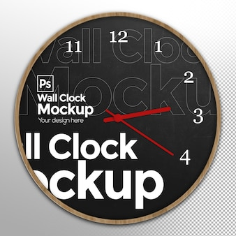 Round wall clock mockup vista frontale