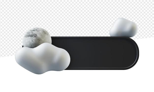Insegna o emblema nero arrotondato con l'illustrazione della nuvola e della luna 3d isolata