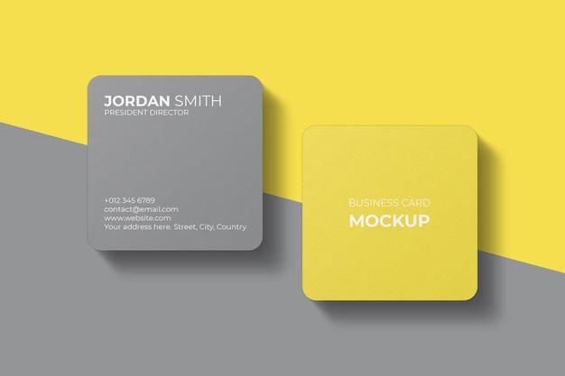 Design mockup biglietto da visita quadrato con angolo arrotondato
