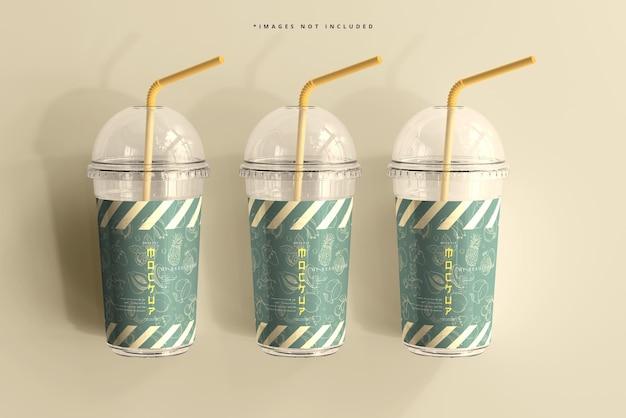 Mockup di tazza di plastica grande con coperchio arrotondato