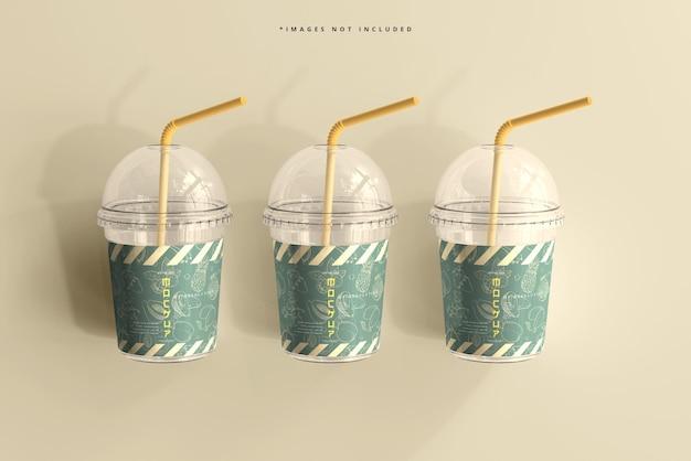 Mockup di tazza di plastica piccola con coperchio arrotondato