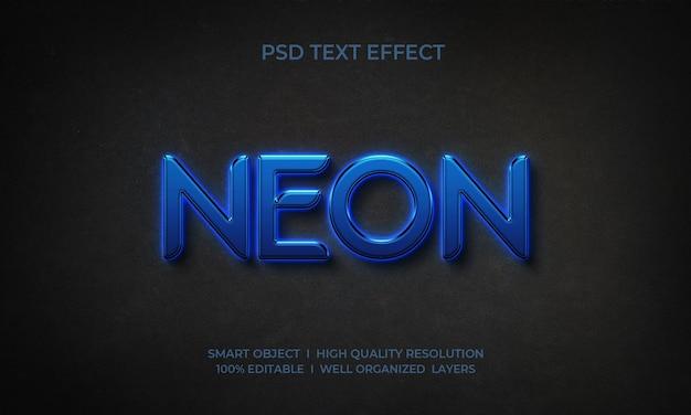 Effetto di testo in stile 3d al neon blu reale Psd Premium