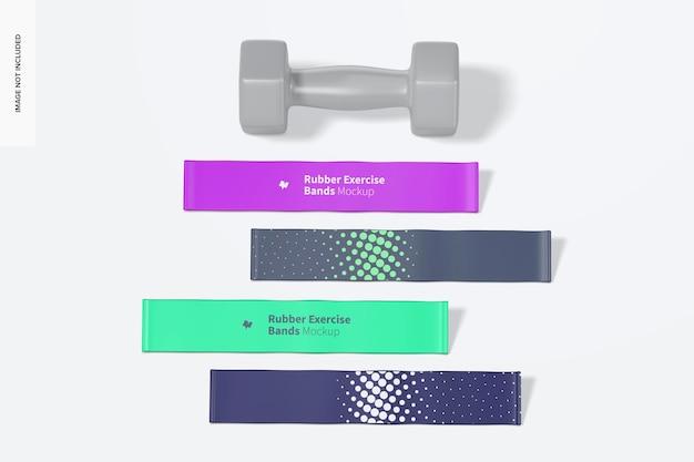 Elastici per esercizi in gomma con mockup di manubri
