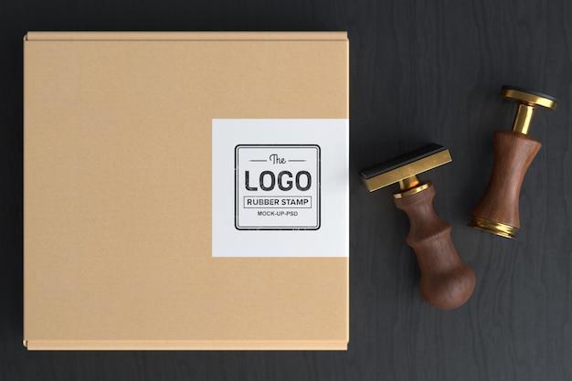 Mockup logo timbro di gomma