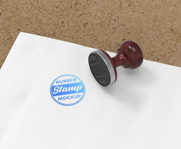 Timbro di gomma o timbro con logo mockup design