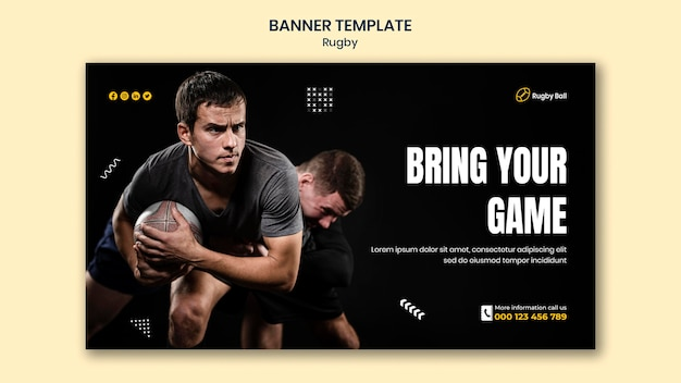 Modello di banner di rugby con foto