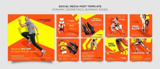 Modello di post sui social media di scarpe da corsa