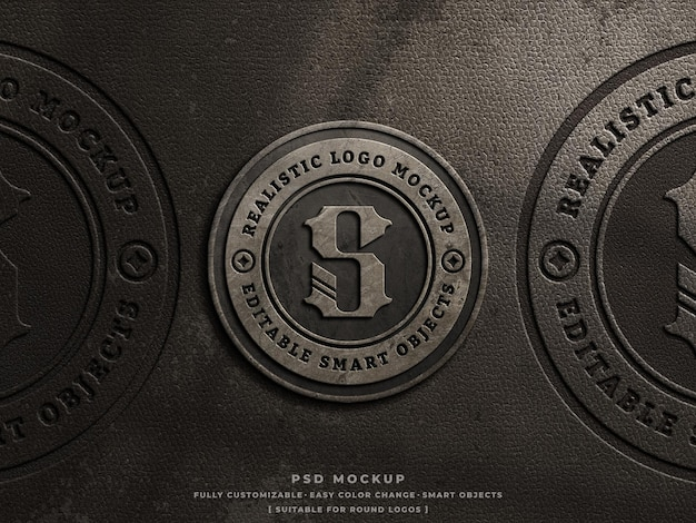 Calcestruzzo rustico e pelle pressato logo inciso mockup su vecchio logo vintage in pelle polverosa mockup