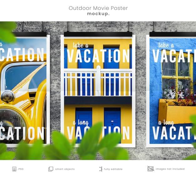 Mockup di poster di film all'aperto rustico sul muro di cemento con rivestimento frondoso