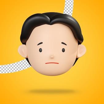 Emoji triste del rendering 3d volto personaggio uomo