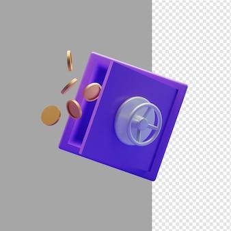 Illustrazione 3d di cassaforte e moneta coin