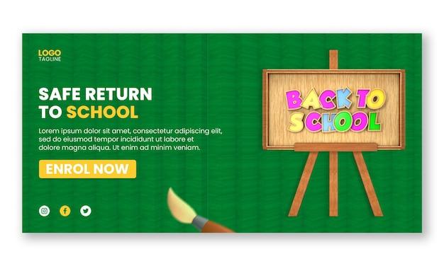 Ritorno sicuro al modello di banner web per social media di ammissione a scuola con elementi 3d