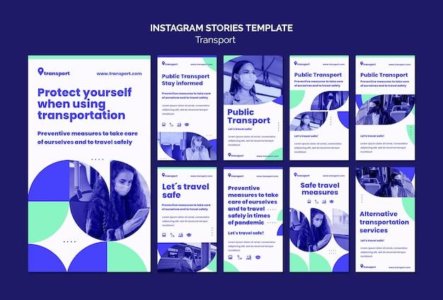 Modello di storie di instagram di trasporto sicuro