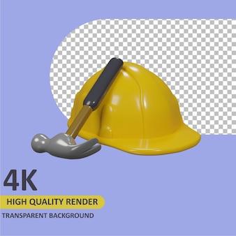 Casco di sicurezza e martello rendering di cartoni animati modellazione 3d